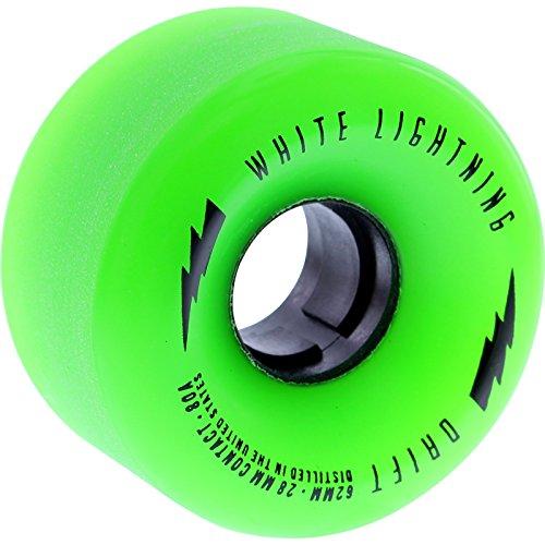 ウィール タイヤ スケボー スケートボード 海外モデル White Lightning 62mm 80a Drift Center-Set Green/Black Longboard Skateboard Wheels (Set of 4)ウィール タイヤ スケボー スケートボード 海外モデル