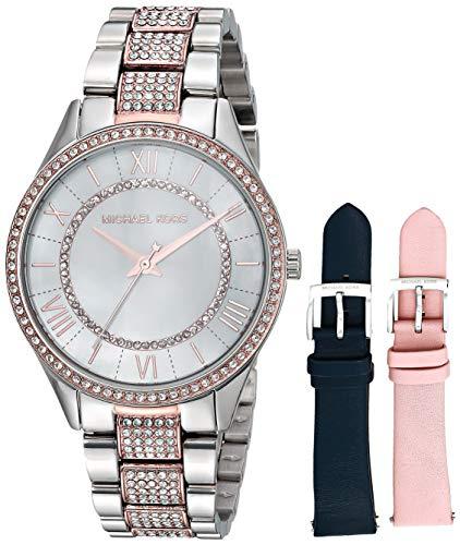 マイケルコース 腕時計 レディース 母の日特集 マイケル・コース 【送料無料】Michael Kors Women's Lauryn Quartz Watch with Stainless-Steel-Plated Strap,Silver/Two Tone/White, 16マイケルコース 腕時計 レディース 母の日特集 マイケル・コース