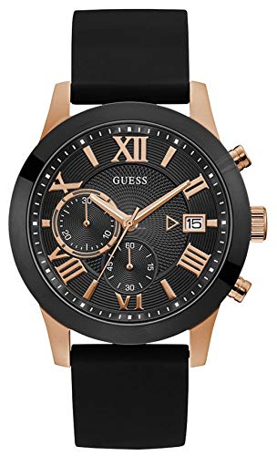 ゲス GUESS 腕時計 メンズ 【送料無料】GUESS Men's Atlas 45mm Black Silicone Band Steel Case Quartz Analog Watch W1055G3ゲス GUESS 腕時計 メンズ