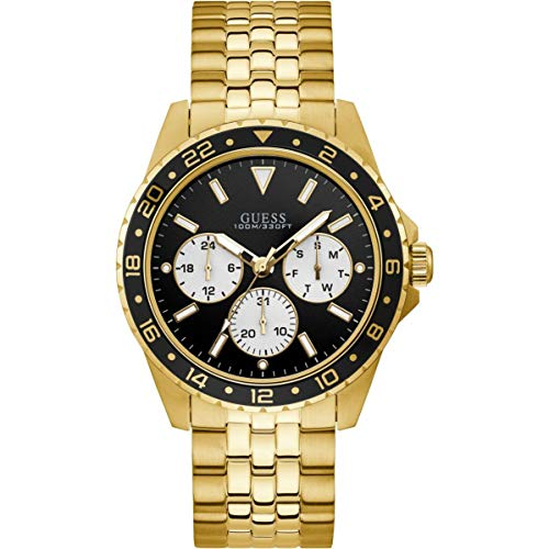 ゲス GUESS 腕時計 メンズ 【送料無料】GUESS Men's 44mm Gold-Tone Steel Bracelet & Case Quartz Black Dial Analog Watch W1107G4ゲス GUESS 腕時計 メンズ