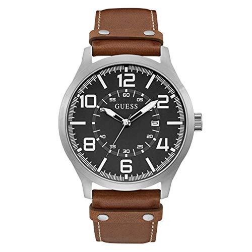 ゲス GUESS 腕時計 メンズ 【送料無料】GUESS Men's 48mm Brown Leather Band Steel Case Quartz Grey Dial Analog Watch W1301G1ゲス GUESS 腕時計 メンズ