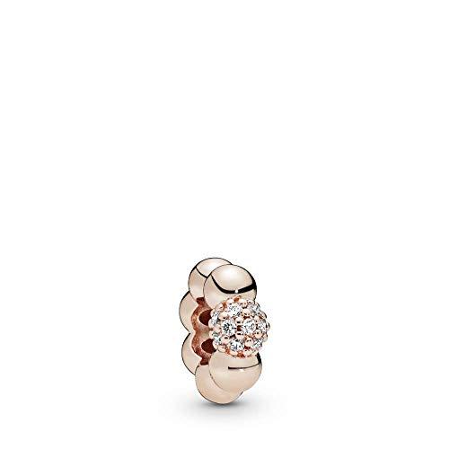 パンドラ ブレスレット アクセサリー ブランド かわいい 【送料無料】Pandora Jewelry Polished and Pave Bead Cubic Zirconia Charm in Pandora Roseパンドラ ブレスレット アクセサリー ブランド かわいい