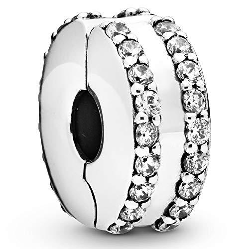 パンドラ ブレスレット アクセサリー ブランド かわいい 【送料無料】Pandora Jewelry Double Lined Pave Fixed Clips Cubic Zirconia Charm in Sterling Silverパンドラ ブレスレット アクセサリー ブランド かわいい