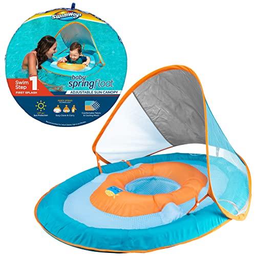 フロート プール 水遊び 浮き輪 11649 【送料無料】SwimWays Baby Spring Float Sun Canopy - Green Fishフロート プール 水遊び 浮き輪 11649