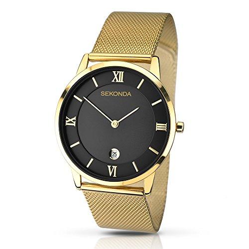 腕時計 セコンダ イギリス メンズ 1064.27 【送料無料】Sekonda Men's Quartz Watch with Black Dial Analogue Display and Gold Stainless Steel Bracelet 1064.27腕時計 セコンダ イギリス メンズ 1064.27
