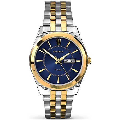 セコンダ イギリス 腕時計 メンズ 1032.27 【送料無料】Sekonda Men's Watch with Midnight Blue Dial and Silver & Gold Two Tone Bracelet 1032セコンダ イギリス 腕時計 メンズ 1032.27