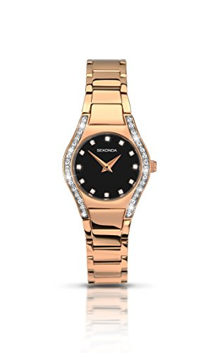 セコンダ イギリス 腕時計 レディース 2200.27 Sekonda Aurora Ladies Watch With Black Dial And Rose Gold Plated Stainless Steel Bracelet 2200セコンダ イギリス 腕時計 レディース 2200.27
