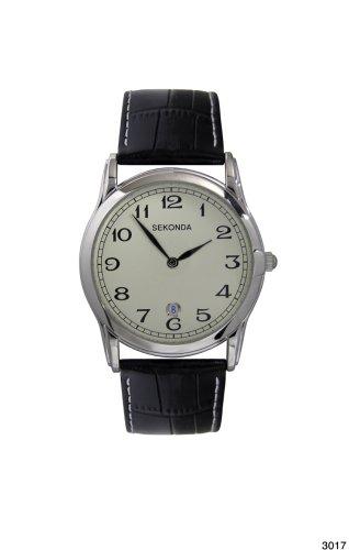 腕時計 セコンダ イギリス メンズ 3017.27 【送料無料】Sekonda 3017 Gents Quartz Analogue Cream Dial Black Leather Strap Watch腕時計 セコンダ イギリス メンズ 3017.27