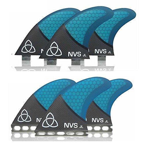 サーフィン フィン マリンスポーツ 【送料無料】Naked Viking Surf Medium JL Thruster Surfboard Fins (Set of 3) Blue Carbon, FCS Baseサーフィン フィン マリンスポーツ