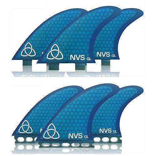 サーフィン フィン マリンスポーツ Naked Viking Surf Large GL Thruster Surfboard Fins (Set of 3) Blue, FCS Baseサーフィン フィン マリンスポーツ