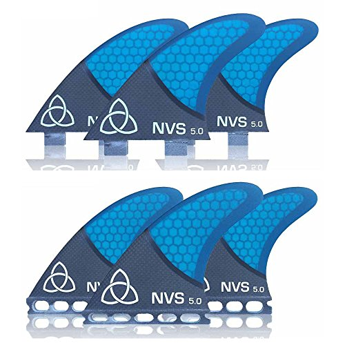 サーフィン フィン マリンスポーツ Naked Viking Surf Medium NV-5.0 Thruster Surfboard Fins (Set of 3) Blue Carbon Fiber, FCSサーフィン フィン マリンスポーツ