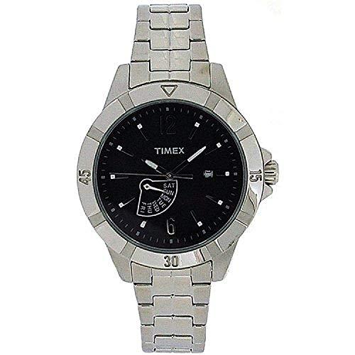 腕時計 タイメックス メンズ 【送料無料】TIMEX Gents Black Analogue Dial Silvertone Bracelet Strap Watch T2N512AU腕時計 タイメックス メンズ