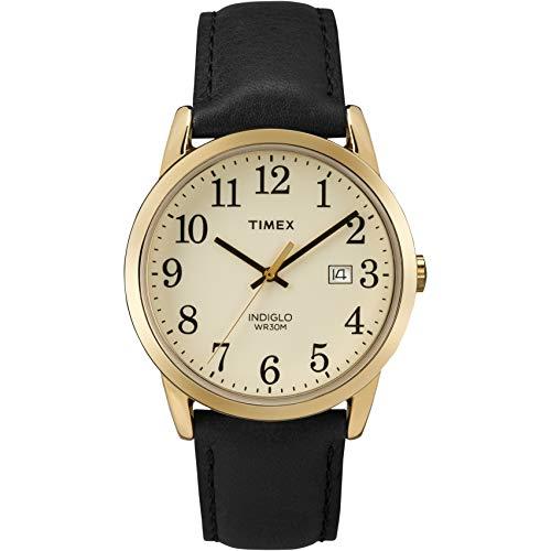 タイメックス 腕時計 メンズ TW2P75700 Timex Men's TW2P75700 Easy Reader Black/Gold-Tone Leather Strap Watchタイメックス 腕時計 メンズ TW2P75700
