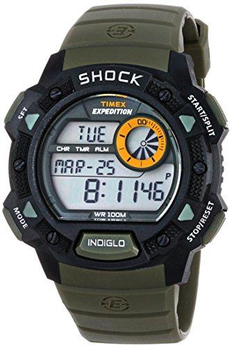 タイメックス 腕時計 メンズ T49975 【送料無料】Timex Men's T49975 Expedition Base Shock Black/Green Resin Watchタイメックス 腕時計 メンズ T49975