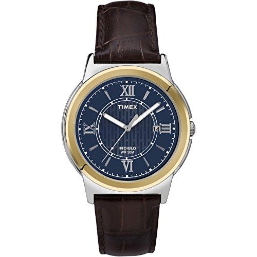 腕時計 タイメックス メンズ T2P5219J 【送料無料】Timex Men's T2P5219J Main Street Two-Tone Stainless Steel Watch with Brown Leather Band腕時計 タイメックス メンズ T2P5219J