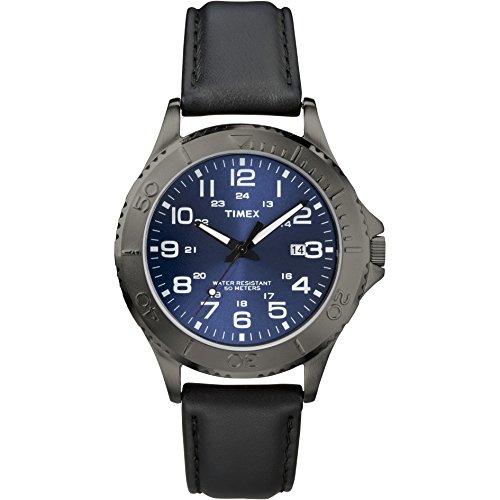 腕時計 タイメックス メンズ T2P392 【送料無料】Timex Men's T2P392 Taft Street Black/Gunmetal Leather Strap Watch腕時計 タイメックス メンズ T2P392