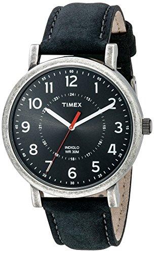 タイメックス 腕時計 メンズ T2P219AB 【送料無料】Timex Unisex T2P219AB Originals Silver-Tone Watch with Black Leather Bandタイメックス 腕時計 メンズ T2P219AB