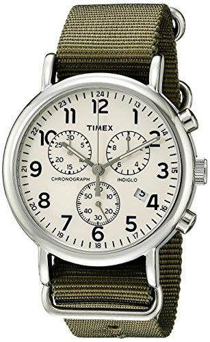 腕時計 タイメックス メンズ TW2P71400 【送料無料】Timex Unisex TW2P71400 Weekender Chrono Green Double-Layered Nylon Slip-Thru Strap Watch腕時計 タイメックス メンズ TW2P71400