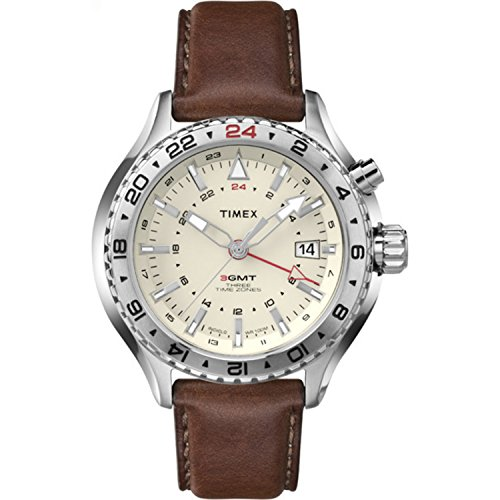 タイメックス 腕時計 メンズ T2P426 【送料無料】Timex Men's T2P426DH Intelligent Quartz 3-GMT Stainless Steel Watch with Brown Leather Bandタイメックス 腕時計 メンズ T2P426