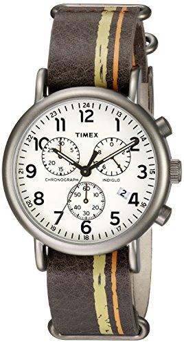 タイメックス 腕時計 メンズ TW2P780009J 【送料無料】Timex Men's TW2P78000 Weekender Chrono Oversize Brown/Green/Orange Stripe Leather NATO Slip-Thru Strap Watchタイメックス 腕時計 メンズ TW2P780009J