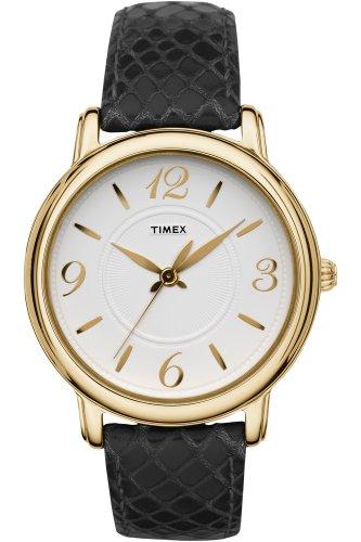 タイメックス 腕時計 レディース T2N619 【送料無料】Timex Womens Classsics White Dial Gold Tone Stainless Steel Case Black Leather Watch T2N619タイメックス 腕時計 レディース T2N619