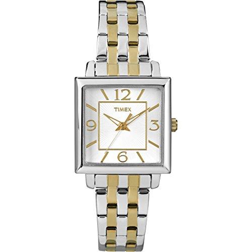 タイメックス 腕時計 レディース T2P3769J Timex Women's   Two-Tone Bracelet Square Silver-Tone Case   Dress Watch T2P376タイメックス 腕時計 レディース T2P3769J