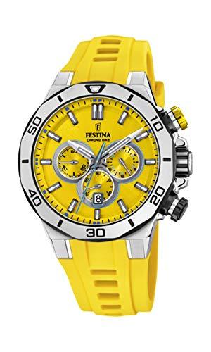 フェスティナ フェスティーナ スイス 腕時計 メンズ 【送料無料】Festina Chrono Bike F20449/A Yellow Dial Yellow Silicone Strap - Steel Case 44mm 10ATMフェスティナ フェスティーナ スイス 腕時計 メンズ