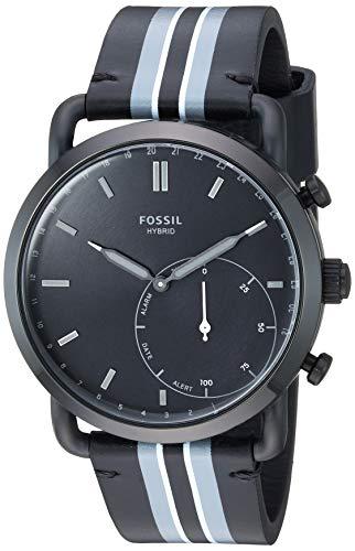 フォッシル 腕時計 メンズ 【送料無料】Fossil Men's Stainless Steel Hybrid Watch with Leather Strap, Black, 22 (Model: FTW1181)フォッシル 腕時計 メンズ