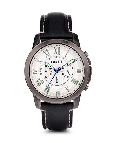 フォッシル 腕時計 メンズ 【送料無料】Fossil FS4921 Grant Leather Mens Watch - Silver Dialフォッシル 腕時計 メンズ