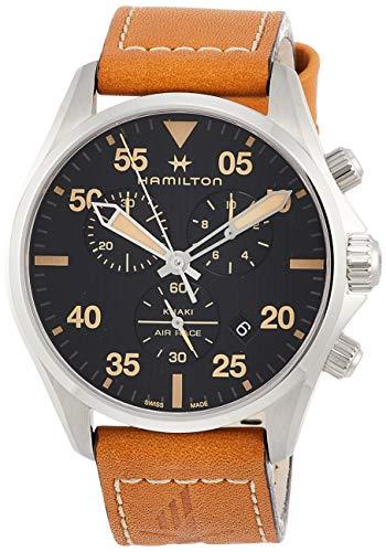 腕時計 ハミルトン メンズ 【送料無料】Hamilton Khaki Pilot Chronograph Black Dial Brown Leather Men's Watch H76722531腕時計 ハミルトン メンズ