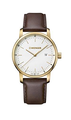 腕時計 ウェンガー スイス メンズ 腕時計 【送料無料】Wenger Men's Urban Classic Stainless Steel Quartz Watch with Leather Calfskin Strap, Brown, 22 (Model: 01.1741.108)腕時計 ウェンガー スイス メンズ 腕時計