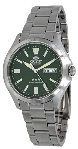 オリエント 腕時計 メンズ 【送料無料】Orient RA-AB0F08E Men's Stainless Steel 3 Star Green Dial Luminous Index Day Date Automatic Watchオリエント 腕時計 メンズ