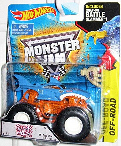 ホットウィール マテル ミニカー ホットウイール 【送料無料】Hot Wheels Monster Jam Shark Wreak #21 Edge Glow Roll Cage Monster Truck With Snap-On Battle Slammer Off-Roadホットウィール マテル ミニカー ホットウイール