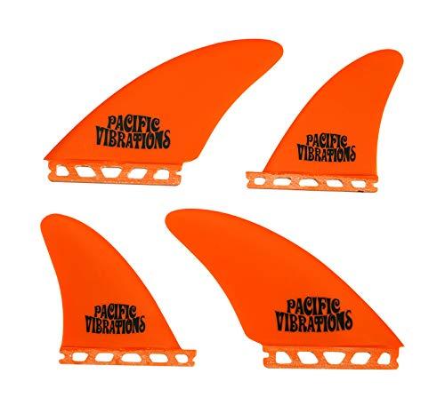 サーフィン フィン マリンスポーツ 【送料無料】PACIFIC VIBRATIONS Futures Controllers Surfboard 4 Quad fins Set Fiberglass Color Orangeサーフィン フィン マリンスポーツ