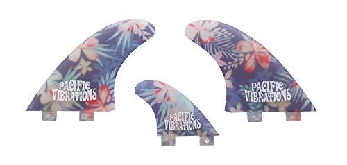 サーフィン フィン マリンスポーツ 【送料無料】PACIFIC VIBRATIONS FCS Twin 2 + 1 Fins Surfboard 3 fin Set Fiberglass Flower Patternサーフィン フィン マリンスポーツ