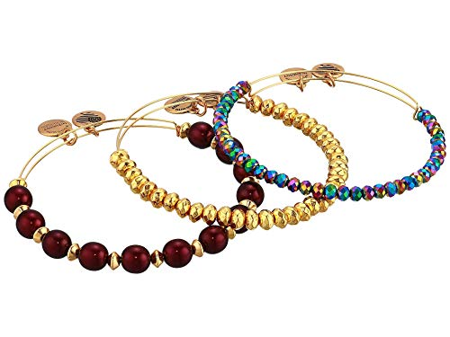 アレックスアンドアニ アメリカ アクセサリー ブランド かわいい 【送料無料】Alex and Ani Plum Purple Bracelet, Set of 3 Shiny Gold One Sizeアレックスアンドアニ アメリカ アクセサリー ブランド かわいい