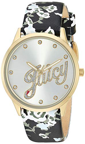 ジューシークチュール レディース 【送料無料】Juicy Couture Black Label Women's Swarovski Crystal Accented Gold-Tone and Black Floral Leather Strap Watchジューシークチュール レディース