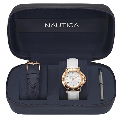ノーティカ 腕時計 メンズ 【送料無料】Nautica Men's Porthole Stainless Steel Quartz Sport Watch with Leather Calfskin Strap, Silver, 18 (Model: NAPPRH009)ノーティカ 腕時計 メンズ