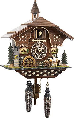 カッコー時計 インテリア 壁掛け時計 海外モデル アメリカ 【送料無料】Cuckoo-Palace German Cuckoo Clock - The Brotzeit House - with Quartz Movement - 10.3 inches high - Black Forest Clockカッコー時計 インテリア 壁掛け時計 海外モデル アメリカ