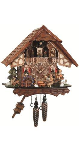 カッコー時計 インテリア 壁掛け時計 海外モデル アメリカ 【送料無料】Quartz Cuckoo Clock Black forest house, turning mill-wheel, moving seesawカッコー時計 インテリア 壁掛け時計 海外モデル アメリカ
