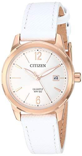 シチズン 逆輸入 海外モデル 海外限定 アメリカ直輸入 【送料無料】Citizen Women's Stainless Steel Japanese-Quartz Leather Calfskin Strap, White, 13 Casual Watch (Model: EU6073-02A)シチズン 逆輸入 海外モデル 海外限定 アメリカ直輸入