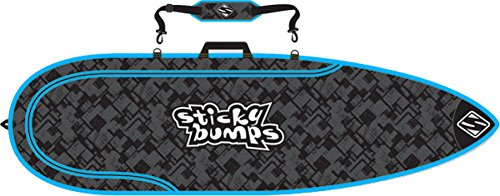 サーフィン ボードケース バックパック マリンスポーツ Sticky Bumps Single Day Black / Blue / Reflective Thruster Surfboard Bag - 7'6