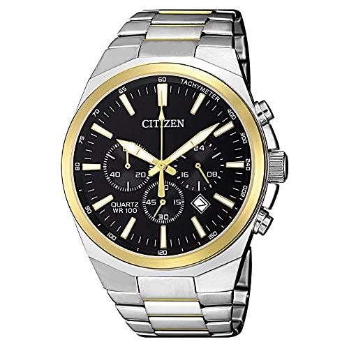 シチズン 逆輸入 海外モデル 海外限定 アメリカ直輸入 【送料無料】Citizen Men's Chrono Black Dial with Chronograph, Two Tone Watch - AN8174-58Eシチズン 逆輸入 海外モデル 海外限定 アメリカ直輸入