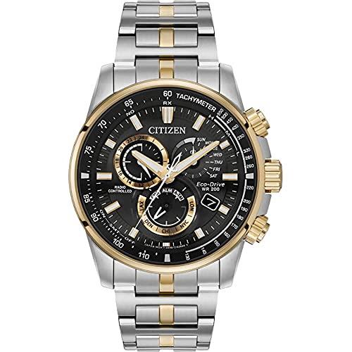腕時計 シチズン 逆輸入 海外モデル 海外限定 【送料無料】Citizen Eco-Drive AT4126-55E Mens Pcat Radio-Controlled Two Tone Bracelet Band Black Quartz Dial Watch腕時計 シチズン 逆輸入 海外モデル 海外限定