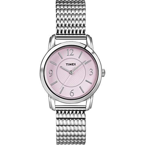 タイメックス 腕時計 レディース 【送料無料】Timex Women's T2N846 Elevated Classics Dress Pink Dial Silver-Tone Expansion Band Watchタイメックス 腕時計 レディース