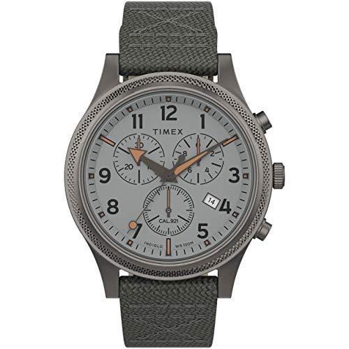 数量は多 腕時計 タイメックス レディース 【送料無料】Timex Men's Allied LT Chrono 42mm Watch ? Silver-Tone Dial & Case with Gray Fabric Strap腕時計 タイメックス レディース, 下八重商店 14ce83dd