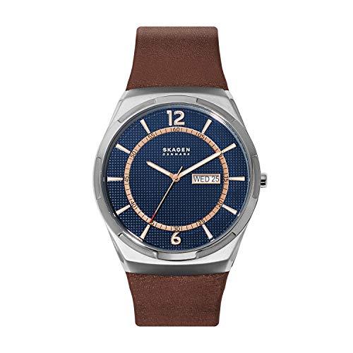 腕時計 スカーゲン メンズ 【送料無料】Skagen Men's Melbye Stainless Steel Quartz Watch with Leather Strap, Brown, 28 (Model: SKW6574)腕時計 スカーゲン メンズ