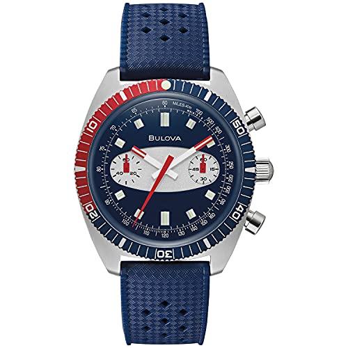 腕時計 ブローバ メンズ 【送料無料】Bulova Archive Series Chronograph A Surfboard Blue Silicone Strap Watch 98A253腕時計 ブローバ メンズ