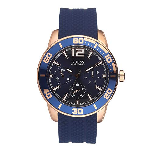 腕時計 ゲス GUESS メンズ 【送料無料】Guess W1250G2 Men's Rose Gold Tone Blue Silicone Band Multifunction Blue Dial Watch腕時計 ゲス GUESS メンズ