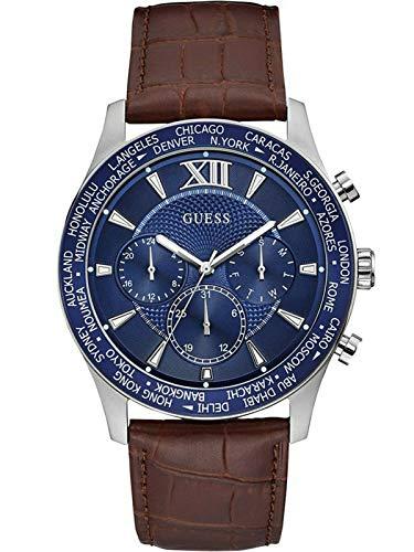 腕時計 ゲス GUESS メンズ 【送料無料】Guess W1262G1 Men's Brown Leather Band Multifunction Blue Dial Watch腕時計 ゲス GUESS メンズ